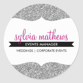 GLAMOROUS SEAL stylish glitter sparkle silver pink Classic Round Sticker
