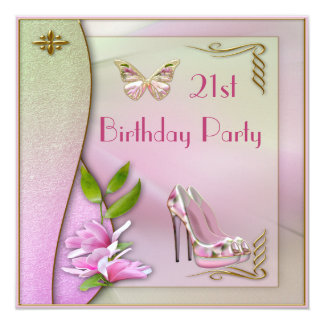 Glamorous Shoes Magnolia & Butterfly 21st Birthday Card