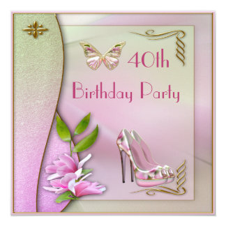 Glamorous Shoes Magnolia & Butterfly 40th Birthday Card