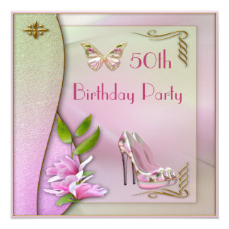 Glamorous Shoes Magnolia & Butterfly 50th Birthday Card