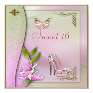Glamorous Shoes Magnolia & Butterfly Sweet 16 Card