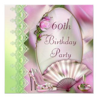 Glamorous Shoes, Magnolia & Fan 60th Birthday 5.25x5.25 Square Paper Invitation Card