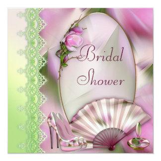 Glamorous Shoes, Magnolia & Fan Bridal Shower 5.25x5.25 Square Paper Invitation Card