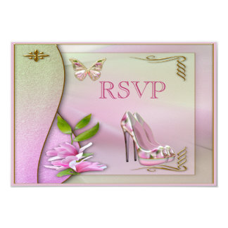 Glamorous Shoes Pink Magnolia Butterfly RSVP Card