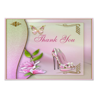 Glamorous Shoes Pink Magnolia Butterfly Thank You 3.5x5 Paper Invitation Card