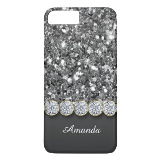 Glamorous Silver Glitter And Sparkly Diamonds Case