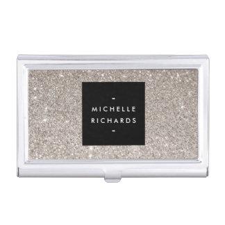 Glamorous Silver Glitter Business Card Holder