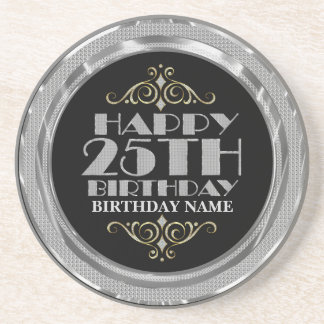 Glamorous Silver Glitter Happy 25th Birthday Beverage Coaster