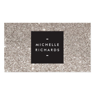 Glamorous Silver Glitter Modern Beauty Business Card