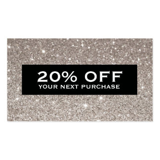 Glamorous Silver Glitter Modern Beauty Coupon Card Double-Sided Standard Business Cards (Pack Of 100)