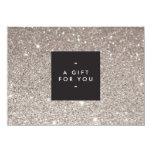 Glamorous Silver Glitter Modern Beauty Gift Card Custom Invites