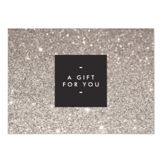 Glamorous Silver Glitter Modern Beauty Gift Card Custom Invites