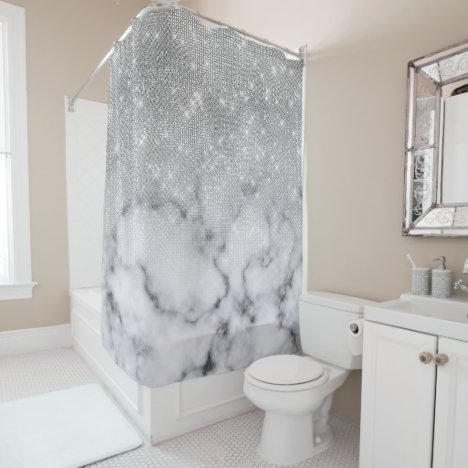 Glamorous Silver Glitter White Marble Ombre Shower Curtain