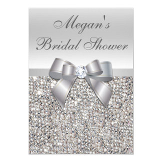 Glamorous Silver Sequins Bow Bridal Shower Card