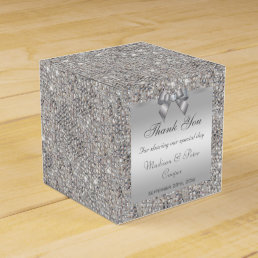 Glamorous Silver Sequins Bow Diamond Favor Box