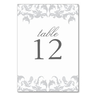 Glamorous Silver Table Number Card