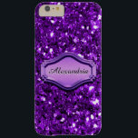 """Glamorous Simulated Purple Sparkly Glitter Case<br><div class=""""desc"""">This design features a faux purple glitter background pattern complemented by a coordinated metal name plate. Customize the text on this trendy design or remove the text fields if you prefer no name. We have a variety of funky, fun and affordable but elegant designs for you to choose from including...</div>"""