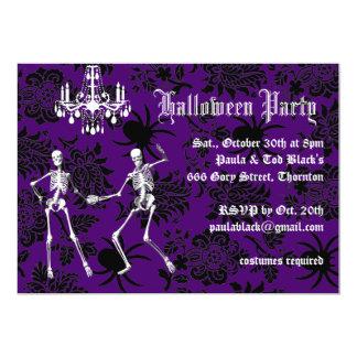 Glamorous Skeletons Halloween Costume Party purple 5x7 Paper Invitation Card