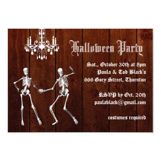 Glamorous Skeletons on Wood Halloween Invitation