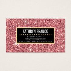 Glamorous Sparkle Cute Stylish Gold Pink Glitter Business Card at Zazzle