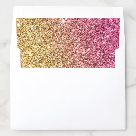 GLAMOROUS sparkly glitter luxe gold pink Envelope Liner