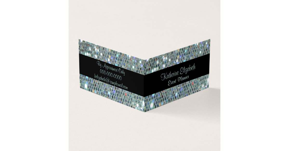 Glamorous Sparkly Glittery Glitzy Silver Bling Business Card ...