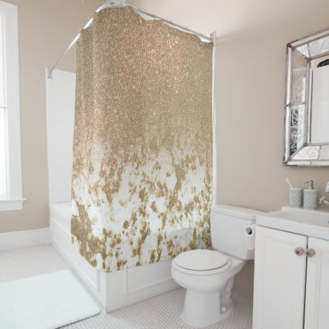 Glamorous Sparkly Gold Glitter Marble Ombre Shower Curtain