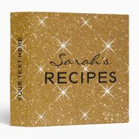 Glamorous sparkly gold glitter recipe binder book