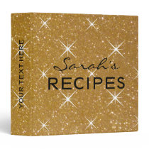 Glamorous sparkly gold glitter recipe binder book