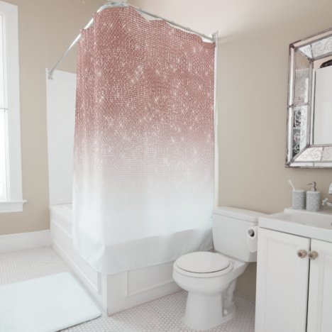 Glamorous Sparkly Rose Gold Glitter Sequin Ombre Shower Curtain