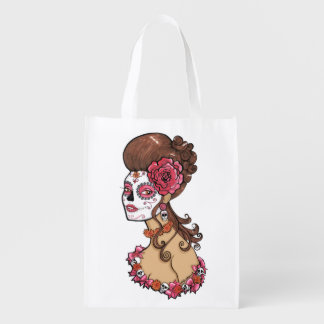 Glamorous Sugar Skull Girl Reusable Grocery Bags