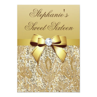 Glamorous Sweet 16 Faux Gold Sequins and Bow 5x7 Paper Invitation Card