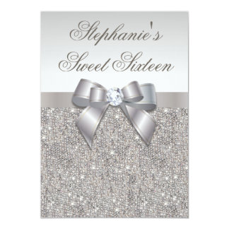 "Glamorous Sweet 16 Faux Silver Sequins and Bow 5"" X 7"" Invitation Card"