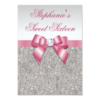 "Glamorous Sweet 16 Faux Silver Sequins Pink Bow 5"" X 7"" Invitation Card"