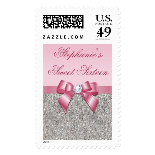 Glamorous Sweet 16 Faux Silver Sequins Pink Bow Stamps