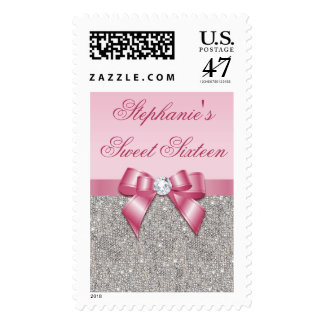 Glamorous Sweet 16 Faux Silver Sequins Pink Bow Postage Stamp