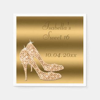 Glamorous Sweet 16 Gold Stilettos Napkins