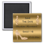 Glamorous Sweet 16 Save The Date Gold Stiletto 2 Inch Square Magnet