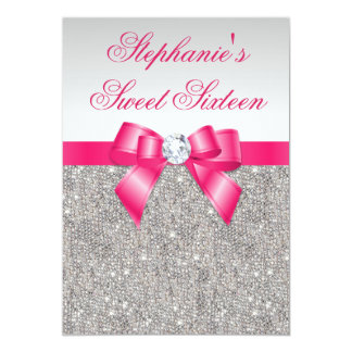 "Glamorous Sweet 16 Silver Sequins Hot Pink Bow 5"" X 7"" Invitation Card"