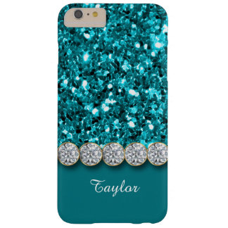 Glamorous Teal Glitter And Sparkly Diamonds Case Barely There iPhone 6 Plus Case