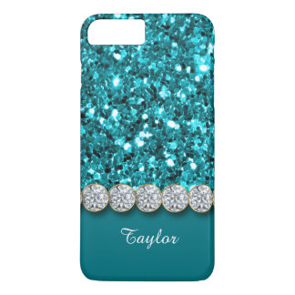 Glamorous Teal Glitter And Sparkly Diamonds Case