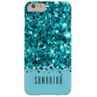 Glamorous Teal Sparkly Glitter Confetti Case Barely There iPhone 6 Plus Case