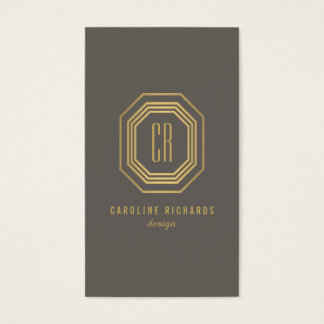 Glamorous Vintage Art Deco Monogram Gold/Gray Business Card