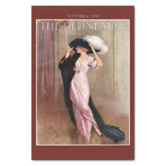"""Glamorous Vintage Edwardian Woman   in Pink Gown 10"""" X 15"""" Tissue Paper"""