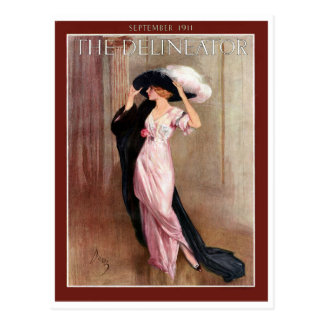 Glamorous Vintage Edwardian Woman   in Pink Gown Postcard