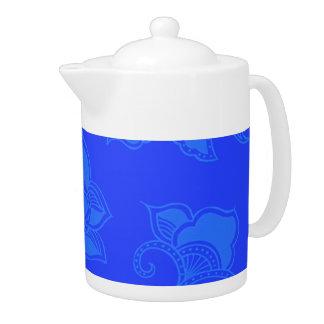 Glamorous Vintage Floral Elegant Blue Teapot