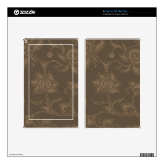Glamorous Vintage Floral Elegant Coffee Brown Kindle Fire Skin