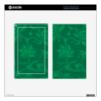 Glamorous Vintage Floral Elegant Green Decal For Kindle Fire
