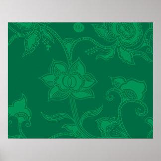 Glamorous Vintage Floral Elegant Green Poster