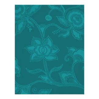Glamorous Vintage Floral Elegant Teal Turquoise Flyer